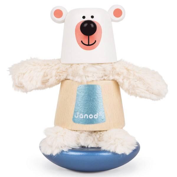 Orso polare in legno e stoffa