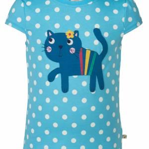 Maglietta a pois con gatto