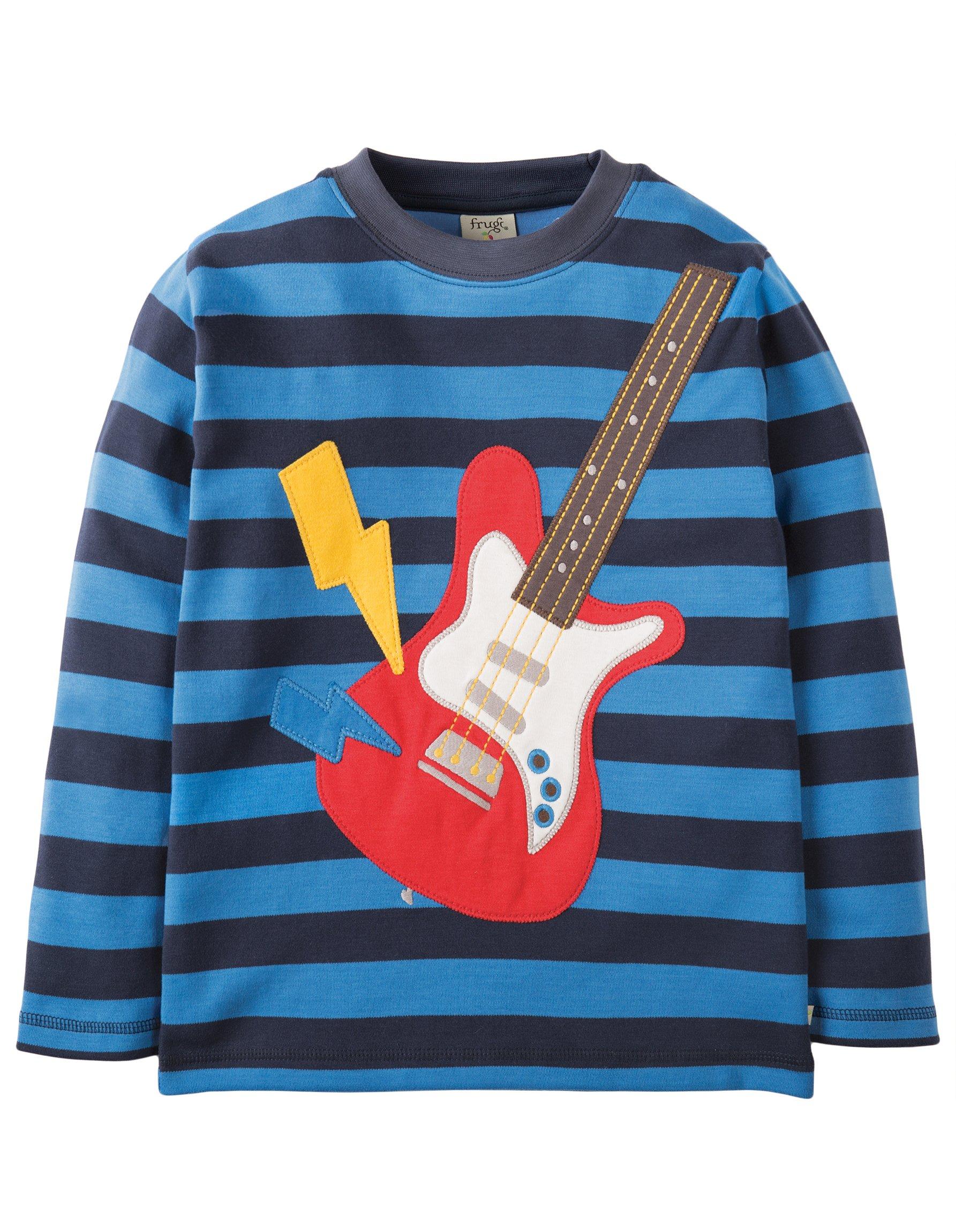 Maglietta a righe con chitarra