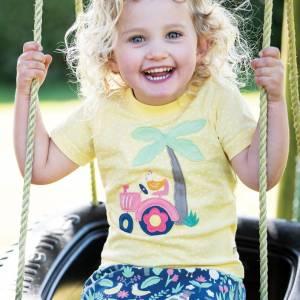Little Polkerris Appliqué T-shirt trattore bimba Frugi